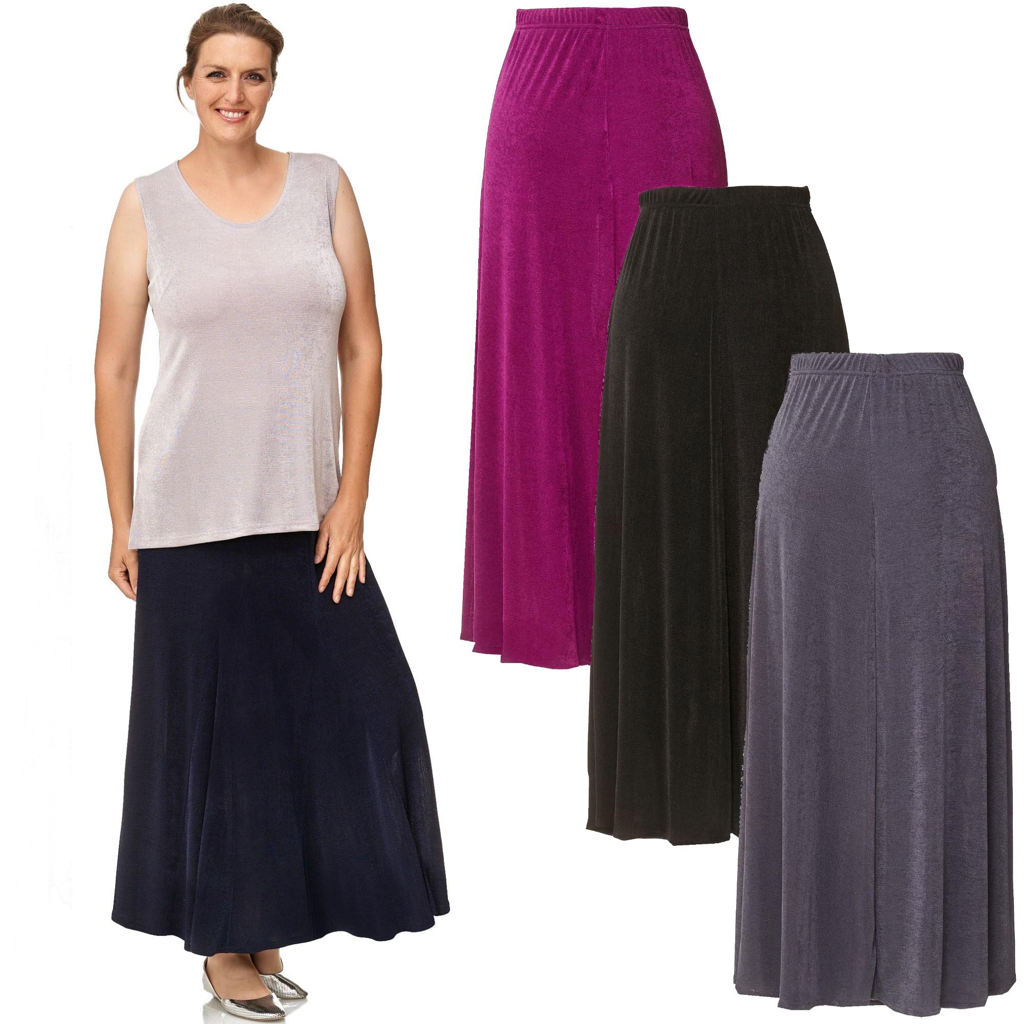 fbe25e6aebc4 Details zu Damen Rock SLINKY Godetfalten Maxi Faltenrock Skirt - Lagenlook  Rundum Dehnbund