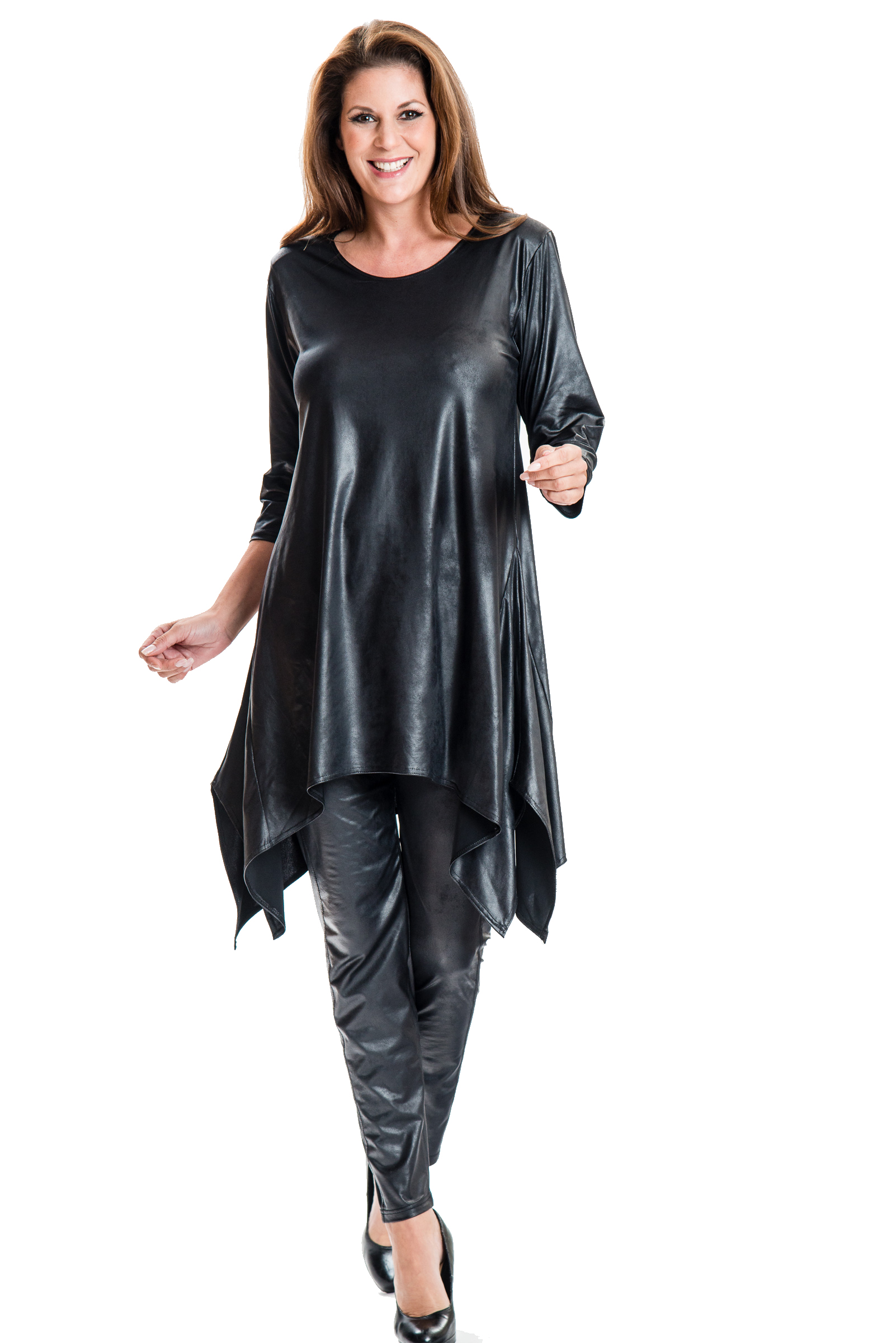 Damen Tunika schwarz Abendkleid Partykleid Leder Optik Look ...