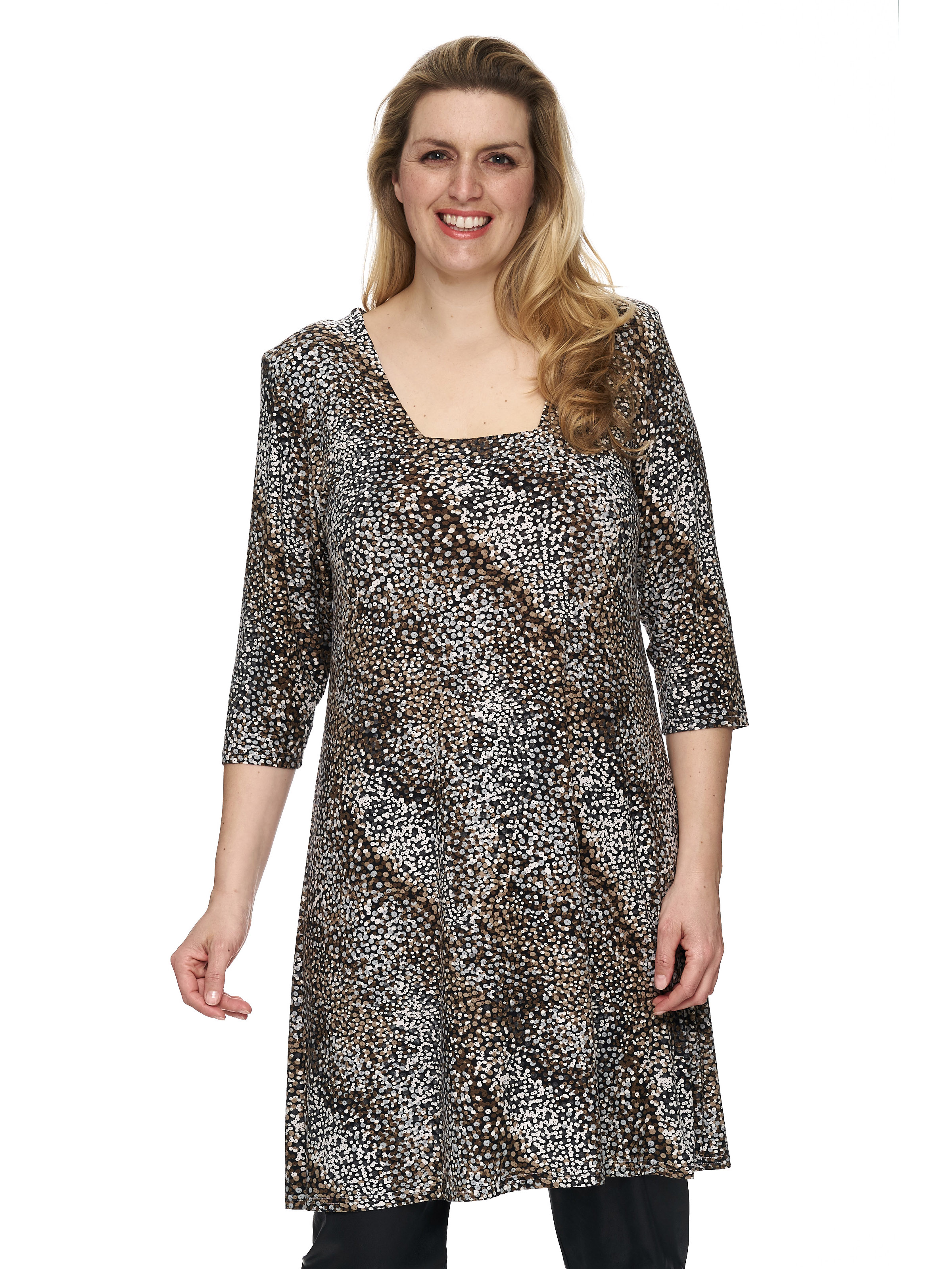Magna Damen Tunika Kleid A-Linie Casual Paillettenprint 16 16 16